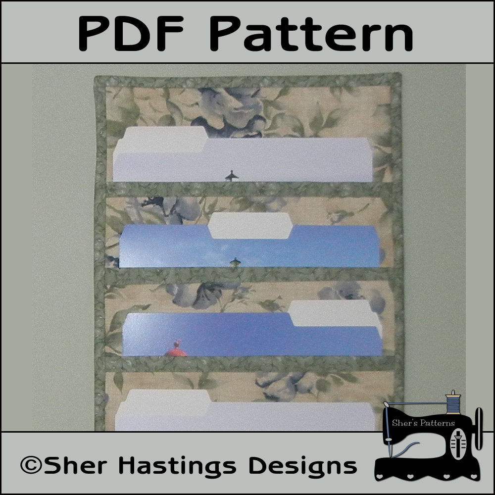 PDF Pattern for File Folder Pocket Organizer Wall Hanging, Tutorial, DIY